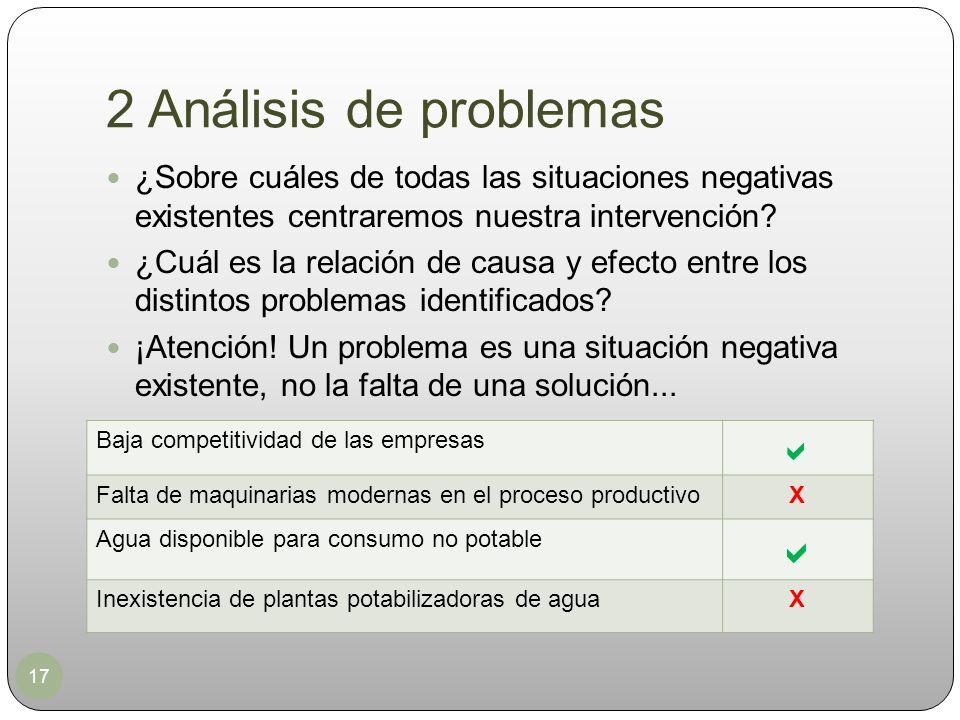 2 Análisis de problemas 17 ¿Sobre cuáles de todas las situaciones negativas existentes centraremos nuestra intervención? ¿Cuál es la relación de causa