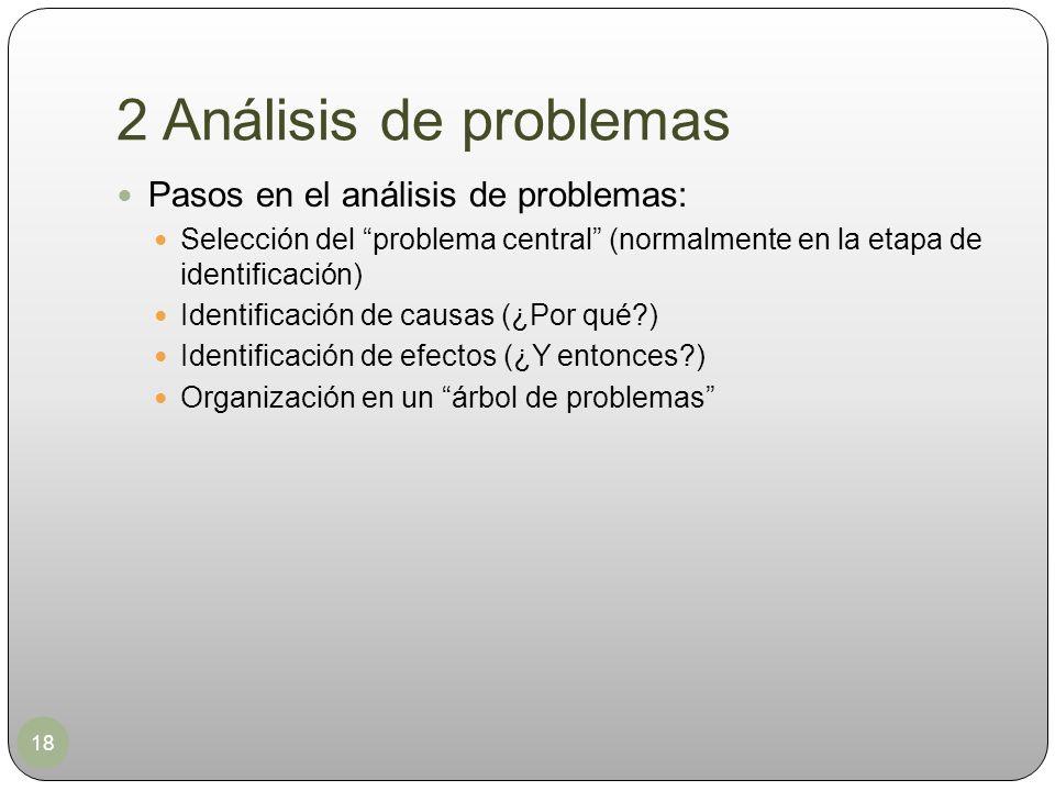 2 Análisis de problemas 18 Pasos en el análisis de problemas: Selección del problema central (normalmente en la etapa de identificación) Identificació