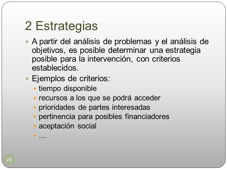 2 Estrategias 23 A partir del análisis de problemas y el análisis de objetivos, es posible determinar una estrategia posible para la intervención, con