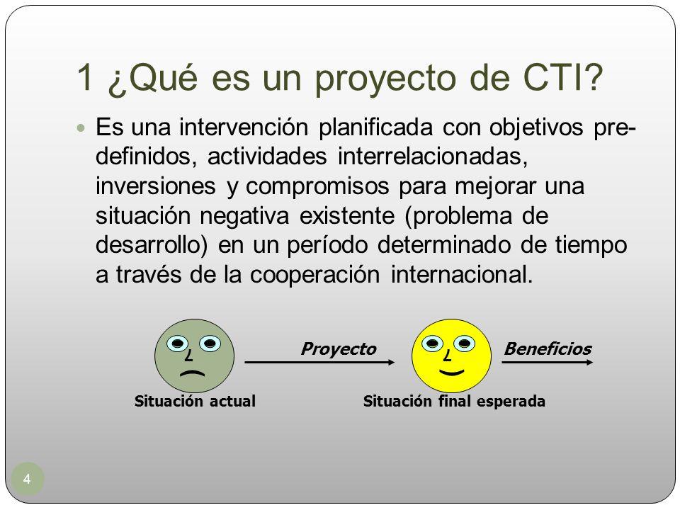 1 ¿Qué es un proyecto de CTI? 4 Es una intervención planificada con objetivos pre- definidos, actividades interrelacionadas, inversiones y compromisos