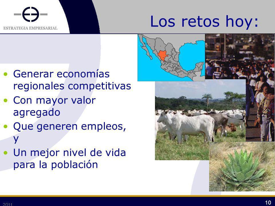 2011 10 Los retos hoy: Generar economías regionales competitivas Con mayor valor agregado Que generen empleos, y Un mejor nivel de vida para la poblac