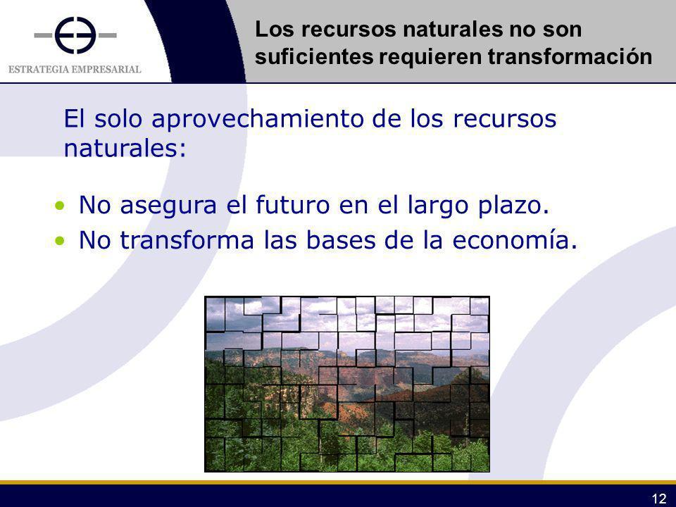 12 El solo aprovechamiento de los recursos naturales: No asegura el futuro en el largo plazo. No transforma las bases de la economía. Los recursos nat