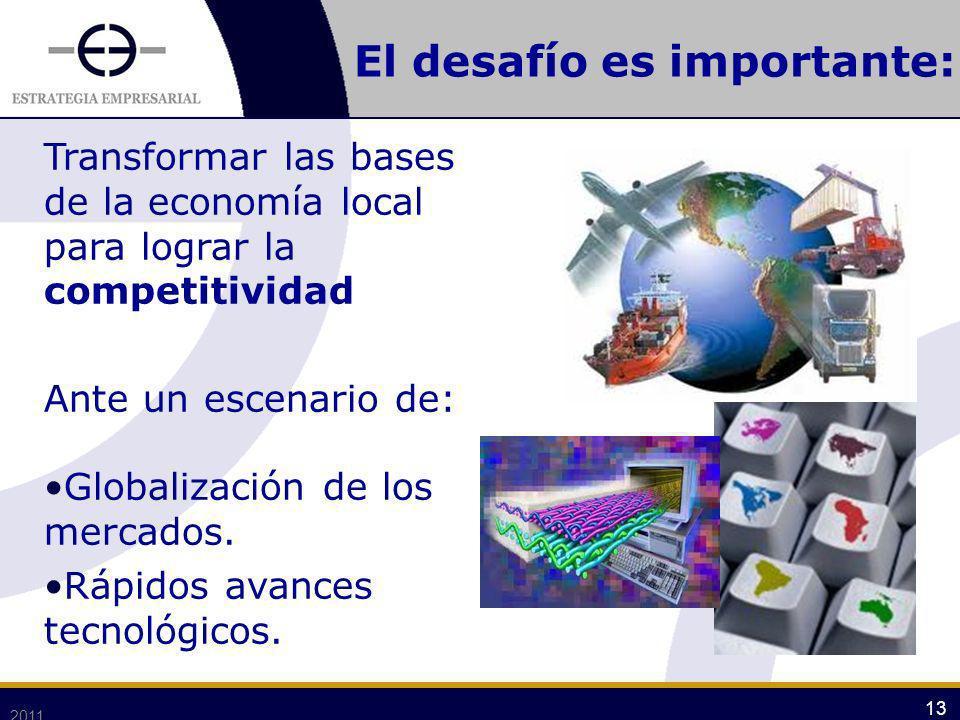 2011 13 El desafío es importante: Transformar las bases de la economía local para lograr la competitividad Ante un escenario de: Globalización de los