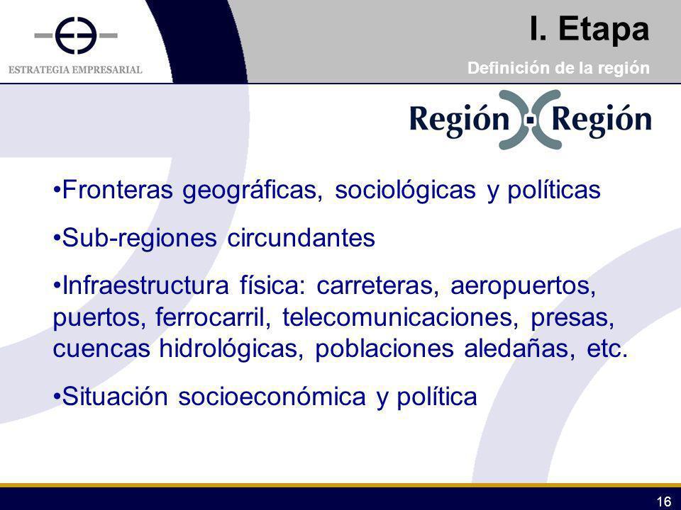 16 I. Etapa Definición de la región Fronteras geográficas, sociológicas y políticas Sub-regiones circundantes Infraestructura física: carreteras, aero