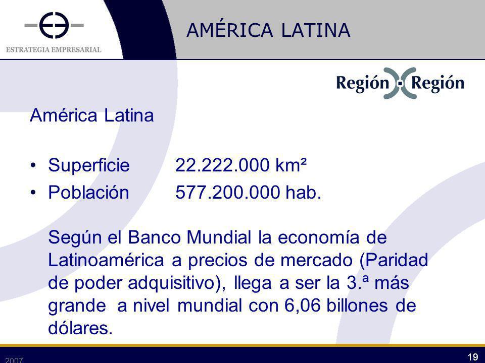 AMÉRICA LATINA América Latina Superficie22.222.000 km² Población577.200.000 hab. Según el Banco Mundial la economía de Latinoamérica a precios de merc