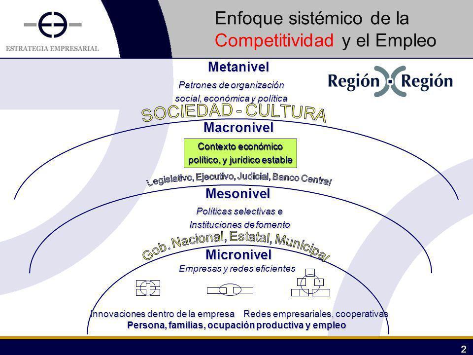22 Metanivel Macronivel Mesonivel Micronivel Patrones de organización social, económica y política Contexto económico político, y jurídico estable Pol