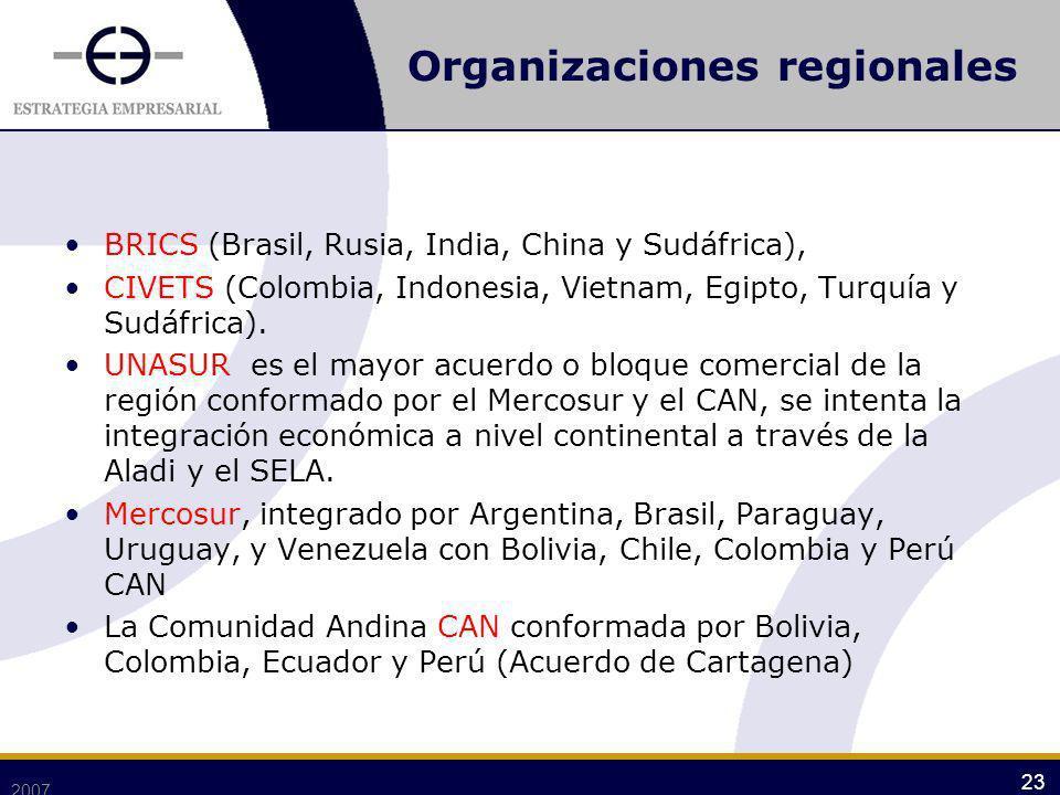 Organizaciones regionales BRICS (Brasil, Rusia, India, China y Sudáfrica), CIVETS (Colombia, Indonesia, Vietnam, Egipto, Turquía y Sudáfrica). UNASUR