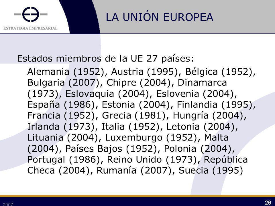 LA UNIÓN EUROPEA Estados miembros de la UE 27 países: Alemania (1952), Austria (1995), Bélgica (1952), Bulgaria (2007), Chipre (2004), Dinamarca (1973