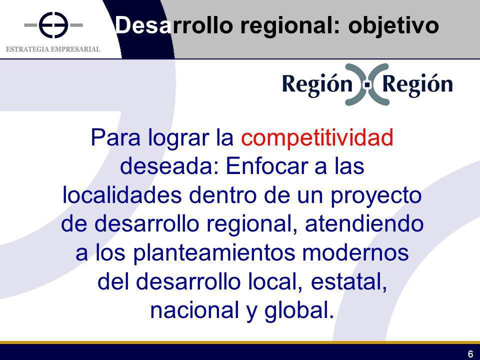 6 Desarrollo regional: objetivo Para lograr la competitividad deseada: Enfocar a las localidades dentro de un proyecto de desarrollo regional, atendie
