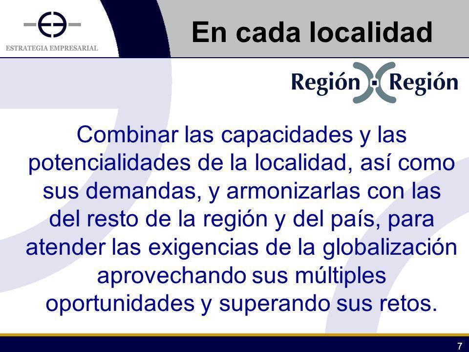 7 Combinar las capacidades y las potencialidades de la localidad, así como sus demandas, y armonizarlas con las del resto de la región y del país, par