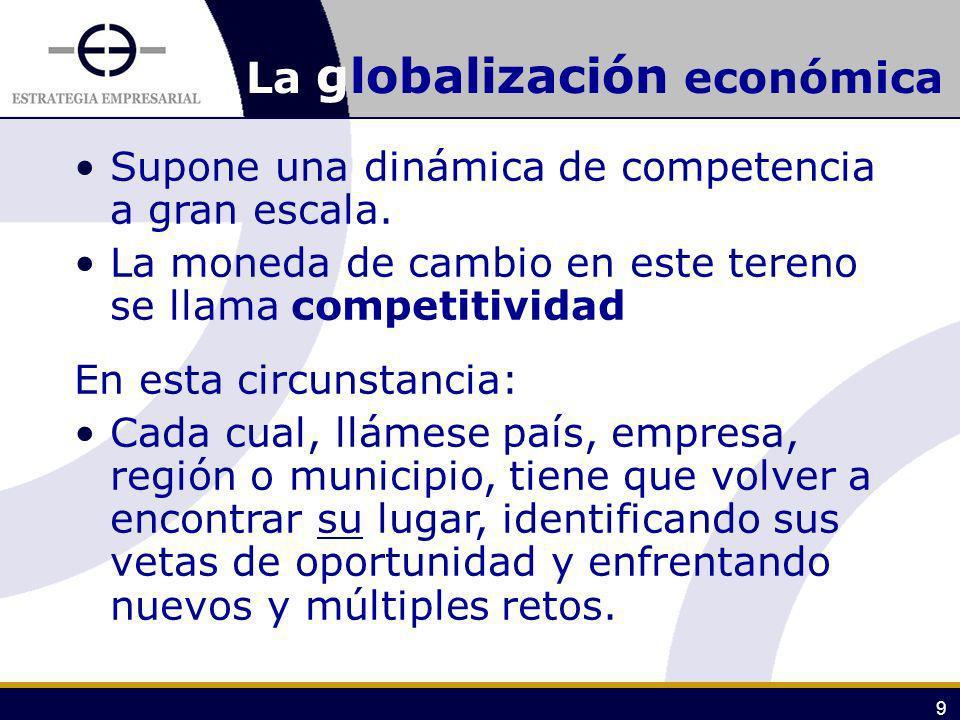 9 La globalización económica Supone una dinámica de competencia a gran escala. La moneda de cambio en este tereno se llama competitividad En esta circ