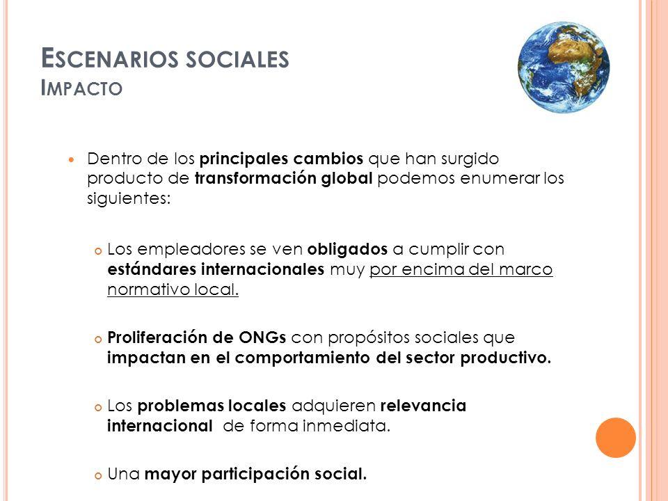 E SCENARIOS SOCIALES I MPACTO Dentro de los principales cambios que han surgido producto de transformación global podemos enumerar los siguientes: Los