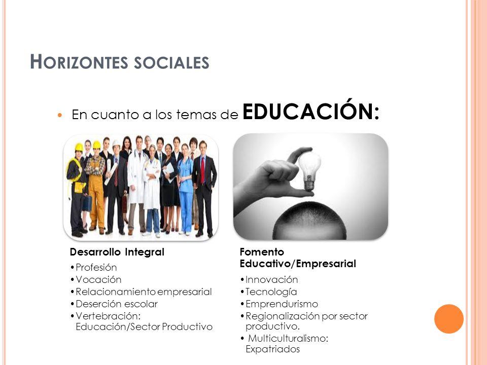En cuanto a los temas de EDUCACIÓN: Desarrollo Integral Profesión Vocación Relacionamiento empresarial Deserción escolar Vertebración: Educación/Secto