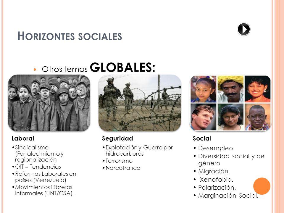 Otros temas GLOBALES: Laboral Sindicalismo (Fortalecimiento y regionalización OIT = Tendencias Reformas Laborales en países (Venezuela) Movimientos Ob