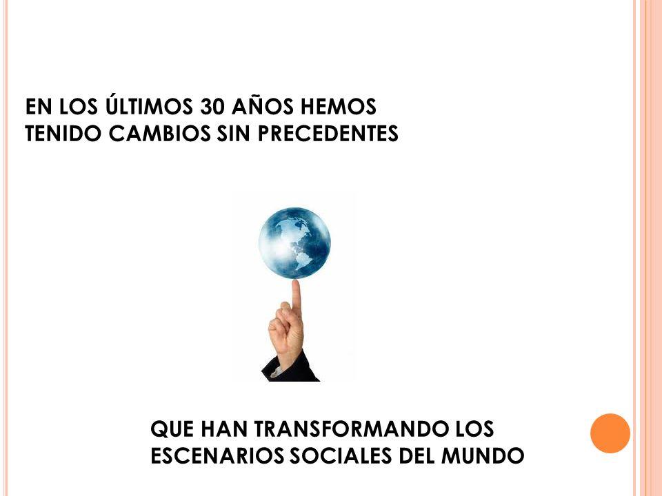 EN LOS ÚLTIMOS 30 AÑOS HEMOS TENIDO CAMBIOS SIN PRECEDENTES QUE HAN TRANSFORMANDO LOS ESCENARIOS SOCIALES DEL MUNDO