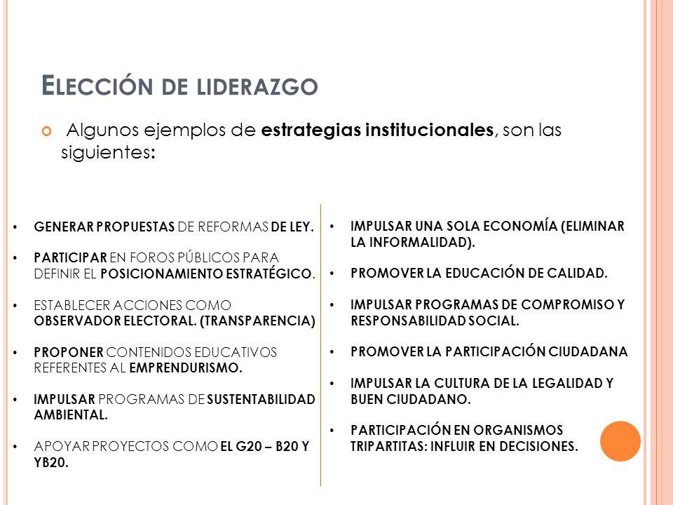 Algunos ejemplos de estrategias institucionales, son las siguientes : GENERAR PROPUESTAS DE REFORMAS DE LEY. PARTICIPAR EN FOROS PÚBLICOS PARA DEFINIR