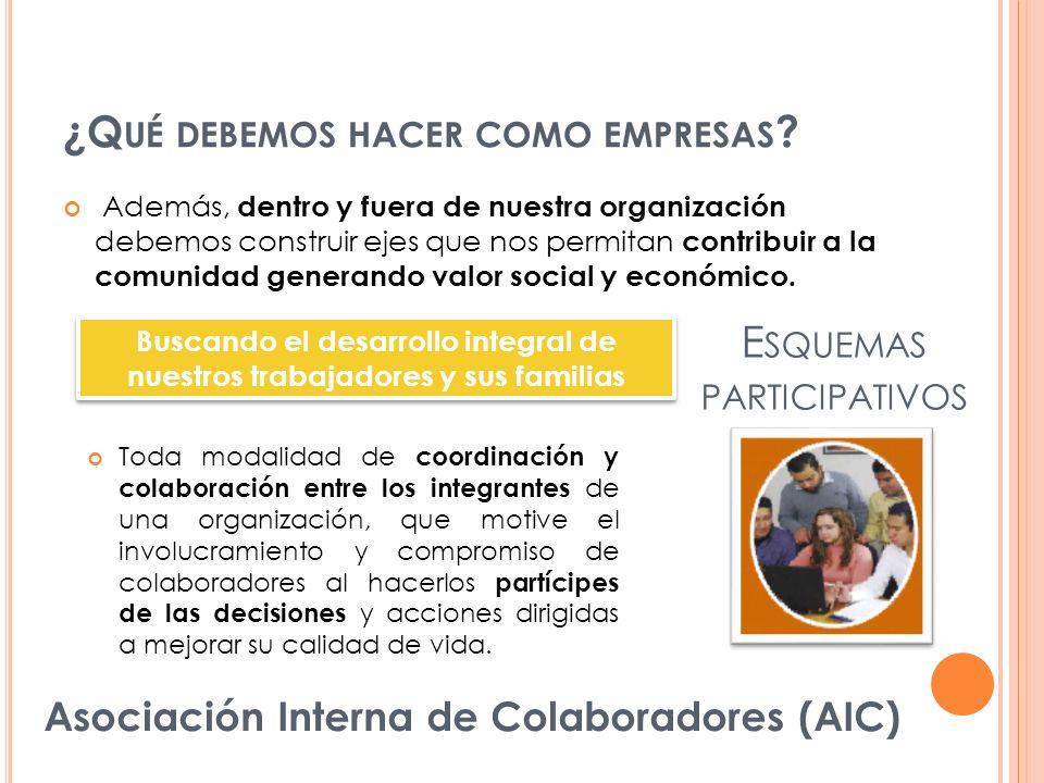 Además, dentro y fuera de nuestra organización debemos construir ejes que nos permitan contribuir a la comunidad generando valor social y económico. E