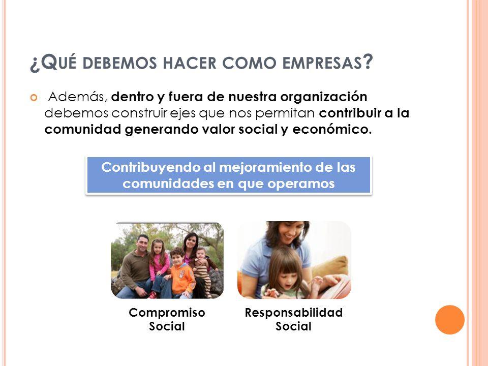 Además, dentro y fuera de nuestra organización debemos construir ejes que nos permitan contribuir a la comunidad generando valor social y económico. ¿