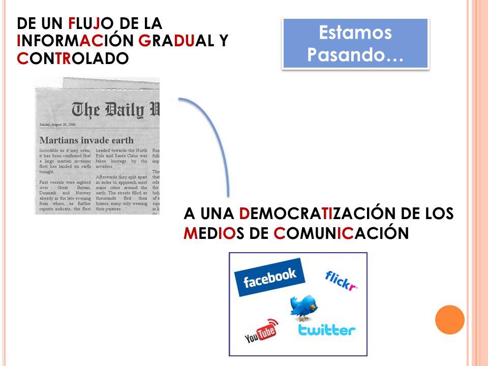 DE UN FLUJO DE LA INFORMACIÓN GRADUAL Y CONTROLADO A UNA DEMOCRATIZACIÓN DE LOS MEDIOS DE COMUNICACIÓN Estamos Pasando…
