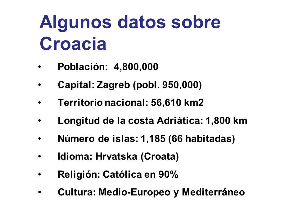 Algunos datos sobre Croacia Población: 4,800,000 Capital: Zagreb (pobl. 950,000) Territorio nacional: 56,610 km2 Longitud de la costa Adriática: 1,800