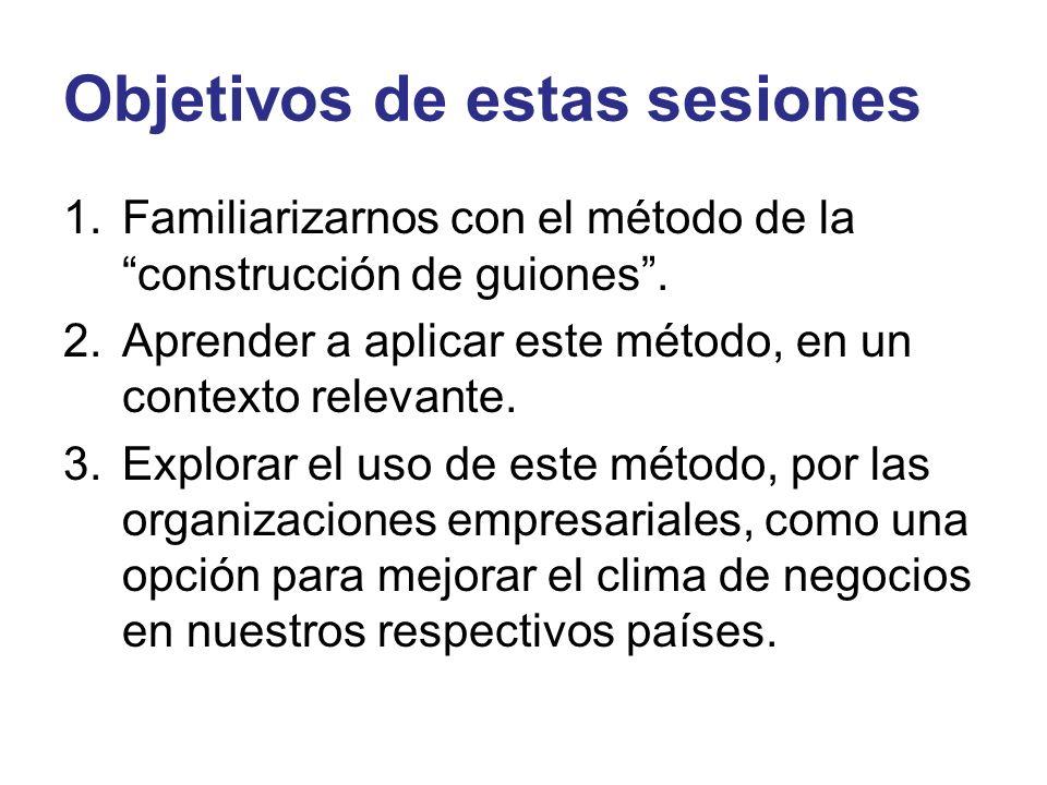 Objetivos de estas sesiones 1.Familiarizarnos con el método de la construcción de guiones. 2.Aprender a aplicar este método, en un contexto relevante.