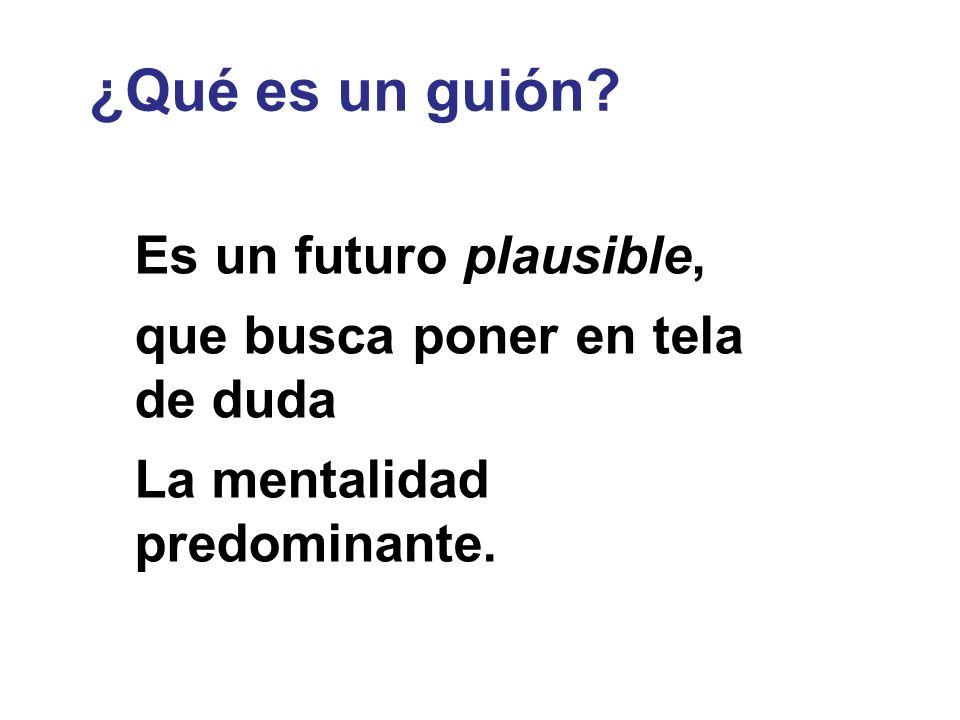 Es un futuro plausible, que busca poner en tela de duda La mentalidad predominante. ¿Qué es un guión? ESCENARIOS