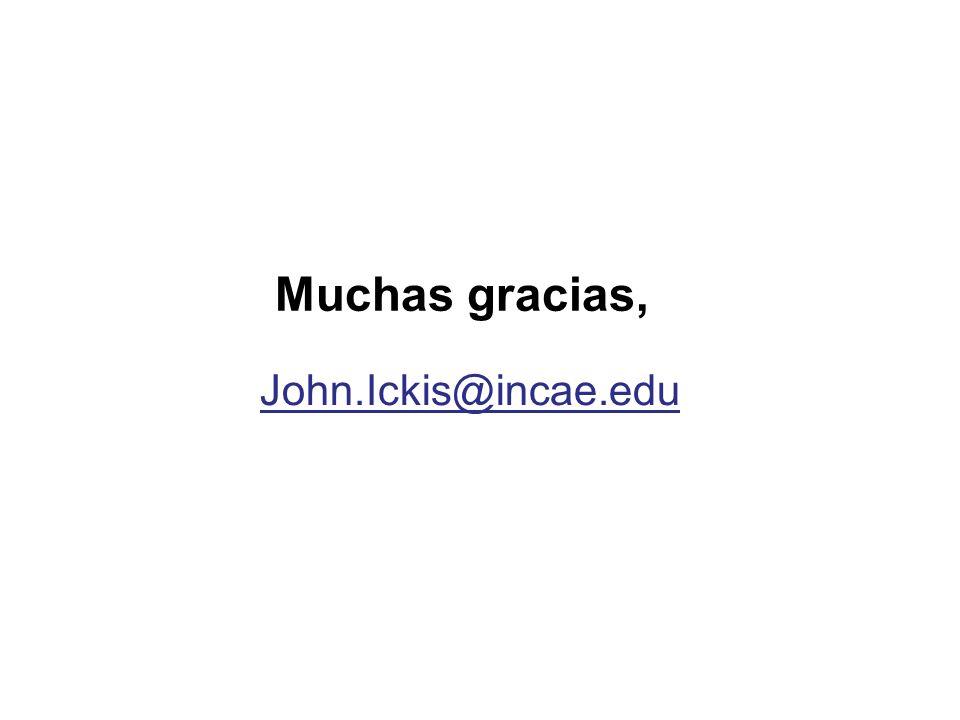 Muchas gracias, John.Ickis@incae.edu