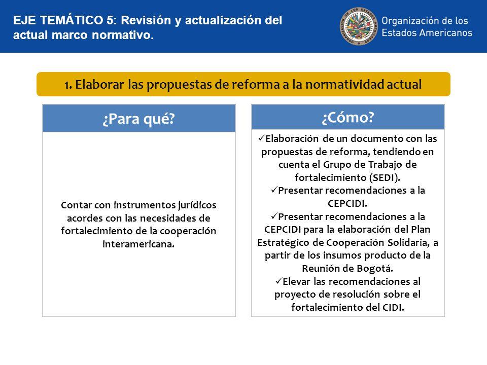 1. Elaborar las propuestas de reforma a la normatividad actual ¿Para qué? Contar con instrumentos jurídicos acordes con las necesidades de fortalecimi