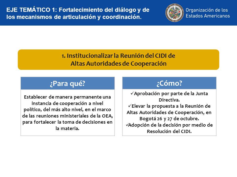 1. Institucionalizar la Reunión del CIDI de Altas Autoridades de Cooperación EJE TEMÁTICO 1: Fortalecimiento del diálogo y de los mecanismos de articu