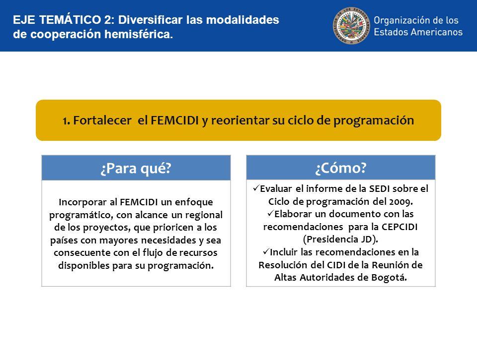 1. Fortalecer el FEMCIDI y reorientar su ciclo de programación EJE TEMÁTICO 2: Diversificar las modalidades de cooperación hemisférica. ¿Para qué? Inc