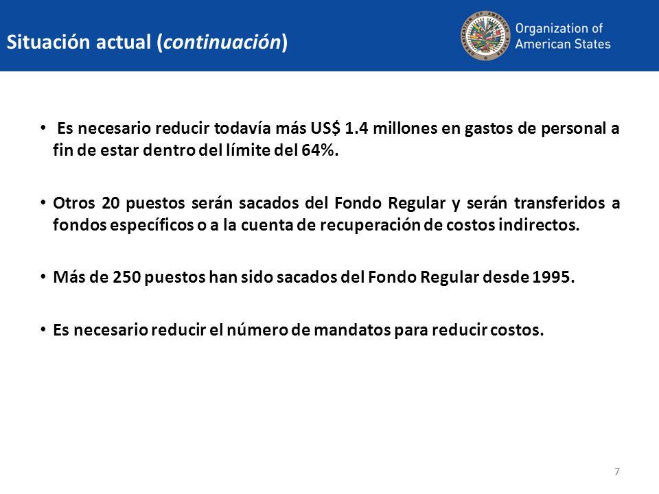 88 En 2010, los recursos del Fondo Regular representan menos del 50% del total.