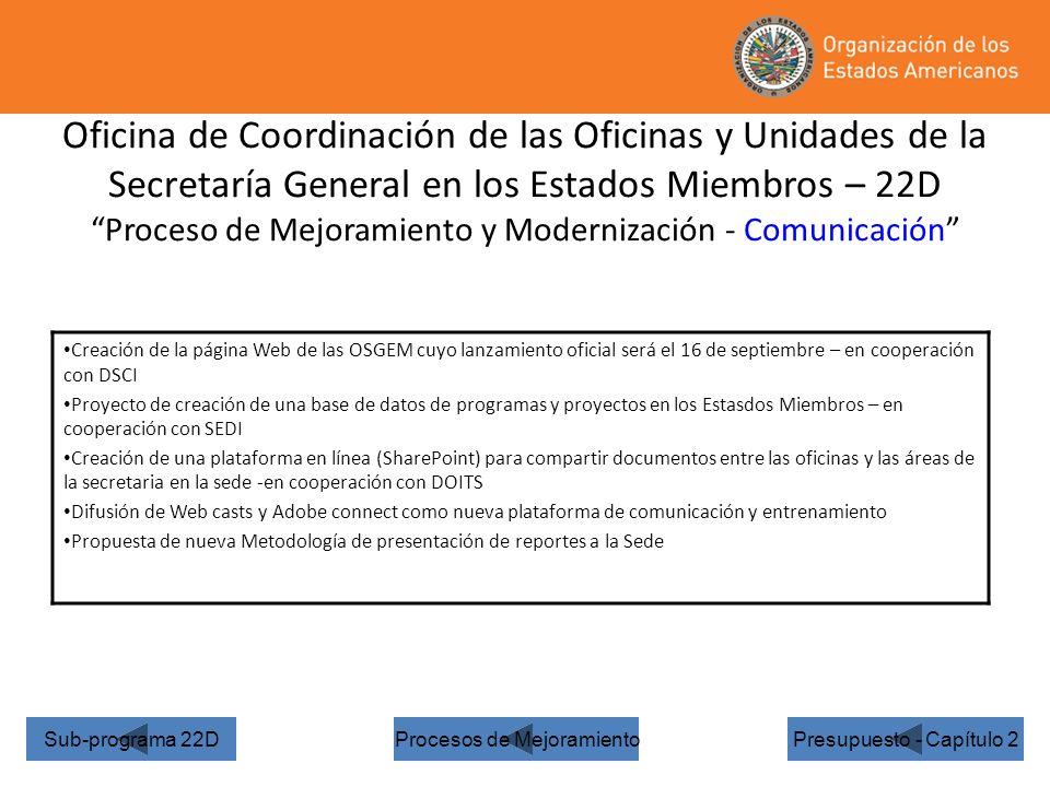 Oficina de Coordinación de las Oficinas y Unidades de la Secretaría General en los Estados Miembros – 22D Proceso de Mejoramiento y Modernización - Comunicación Presupuesto - Capítulo 2 Creación de la página Web de las OSGEM cuyo lanzamiento oficial será el 16 de septiembre – en cooperación con DSCI Proyecto de creación de una base de datos de programas y proyectos en los Estasdos Miembros – en cooperación con SEDI Creación de una plataforma en línea (SharePoint) para compartir documentos entre las oficinas y las áreas de la secretaria en la sede -en cooperación con DOITS Difusión de Web casts y Adobe connect como nueva plataforma de comunicación y entrenamiento Propuesta de nueva Metodología de presentación de reportes a la Sede Sub-programa 22DProcesos de Mejoramiento