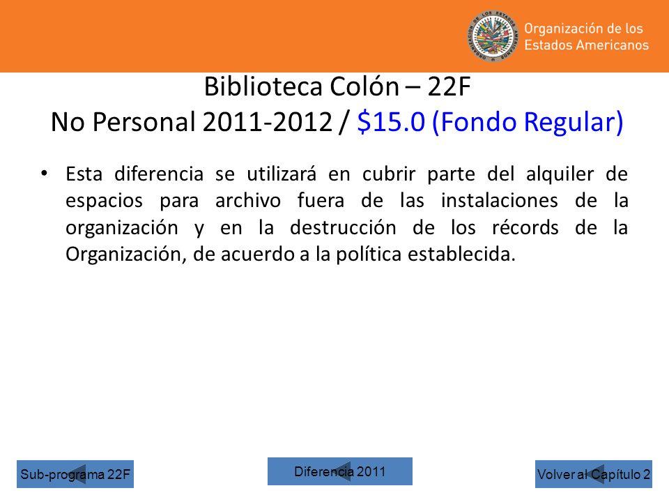 Biblioteca Colón – 22F No Personal 2011-2012 / $15.0 (Fondo Regular) Volver al Capítulo 2Sub-programa 22F Esta diferencia se utilizará en cubrir parte del alquiler de espacios para archivo fuera de las instalaciones de la organización y en la destrucción de los récords de la Organización, de acuerdo a la política establecida.