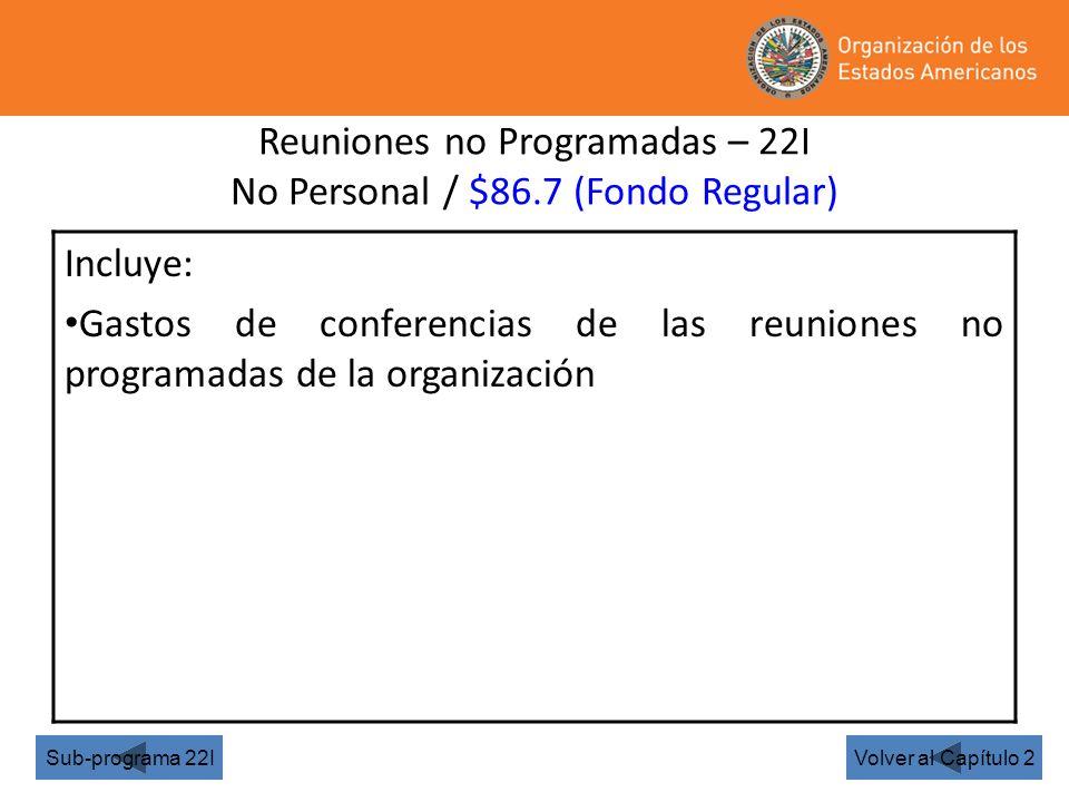 Reuniones no Programadas – 22I No Personal / $86.7 (Fondo Regular) Volver al Capítulo 2Sub-programa 22I Incluye: Gastos de conferencias de las reuniones no programadas de la organización