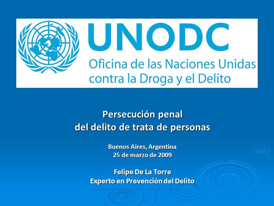 Persecución penal del delito de trata de personas Buenos Aires, Argentina 25 de marzo de 2009 Felipe De La Torre Experto en Prevención del Delito