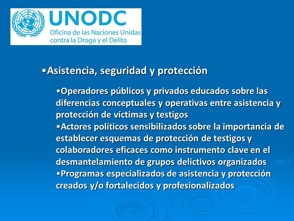 Asistencia, seguridad y protecciónAsistencia, seguridad y protección Operadores públicos y privados educados sobre las diferencias conceptuales y oper