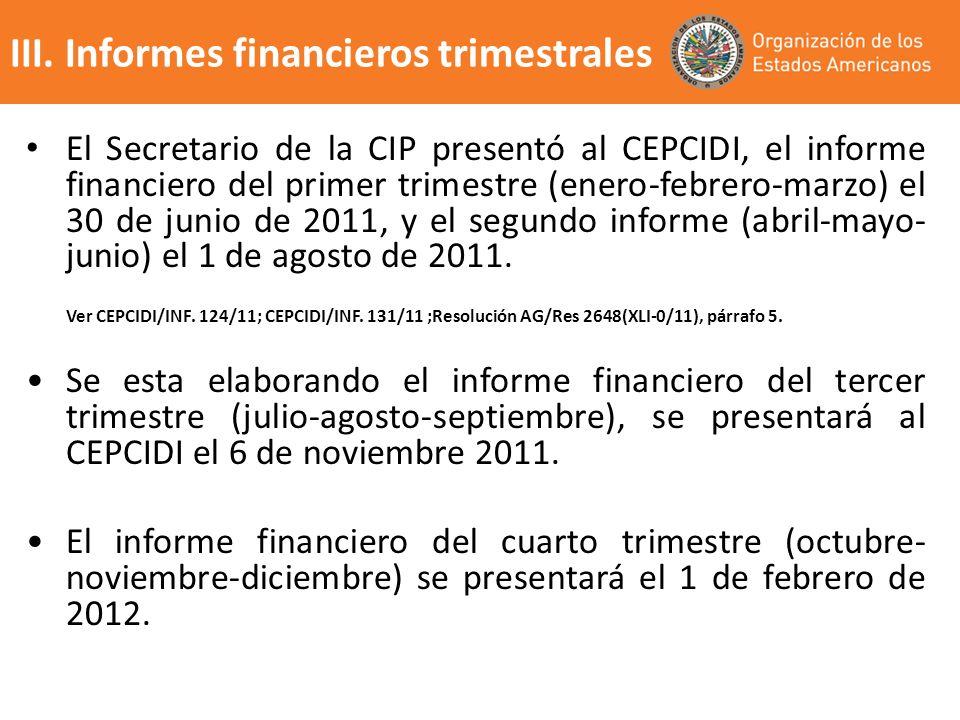 El Secretario de la CIP presentó al CEPCIDI, el informe financiero del primer trimestre (enero-febrero-marzo) el 30 de junio de 2011, y el segundo inf