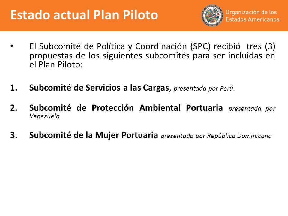 El Subcomité de Política y Coordinación (SPC) recibió tres (3) propuestas de los siguientes subcomités para ser incluidas en el Plan Piloto: 1.Subcomi