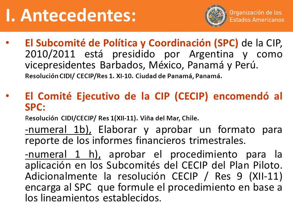 El Subcomité de Política y Coordinación (SPC) de la CIP, 2010/2011 está presidido por Argentina y como vicepresidentes Barbados, México, Panamá y Perú
