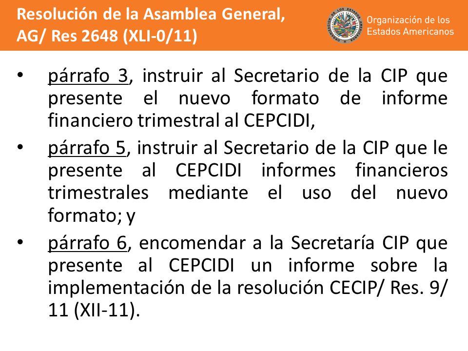 párrafo 3, instruir al Secretario de la CIP que presente el nuevo formato de informe financiero trimestral al CEPCIDI, párrafo 5, instruir al Secretar