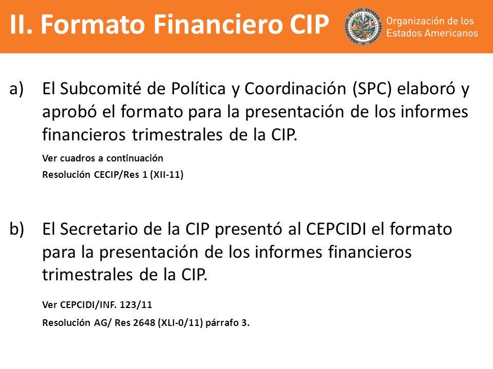 a)El Subcomité de Política y Coordinación (SPC) elaboró y aprobó el formato para la presentación de los informes financieros trimestrales de la CIP. V