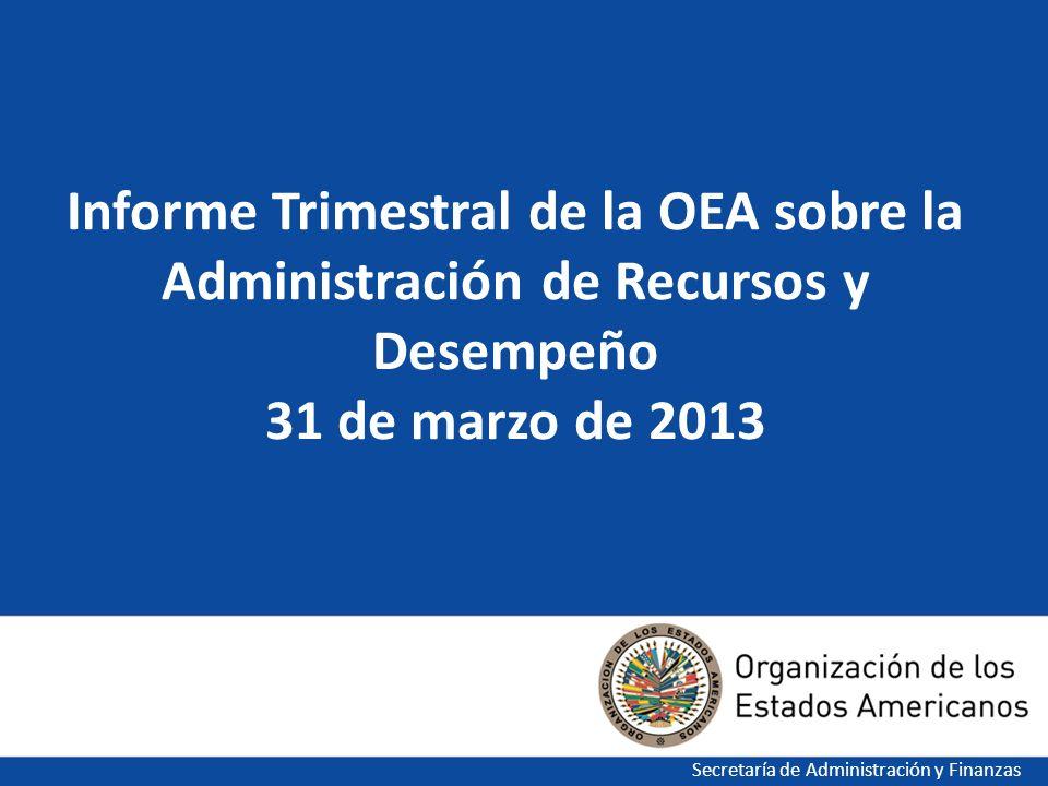 1 Informe Trimestral de la OEA sobre la Administración de Recursos y Desempeño 31 de marzo de 2013 Secretaría de Administración y Finanzas