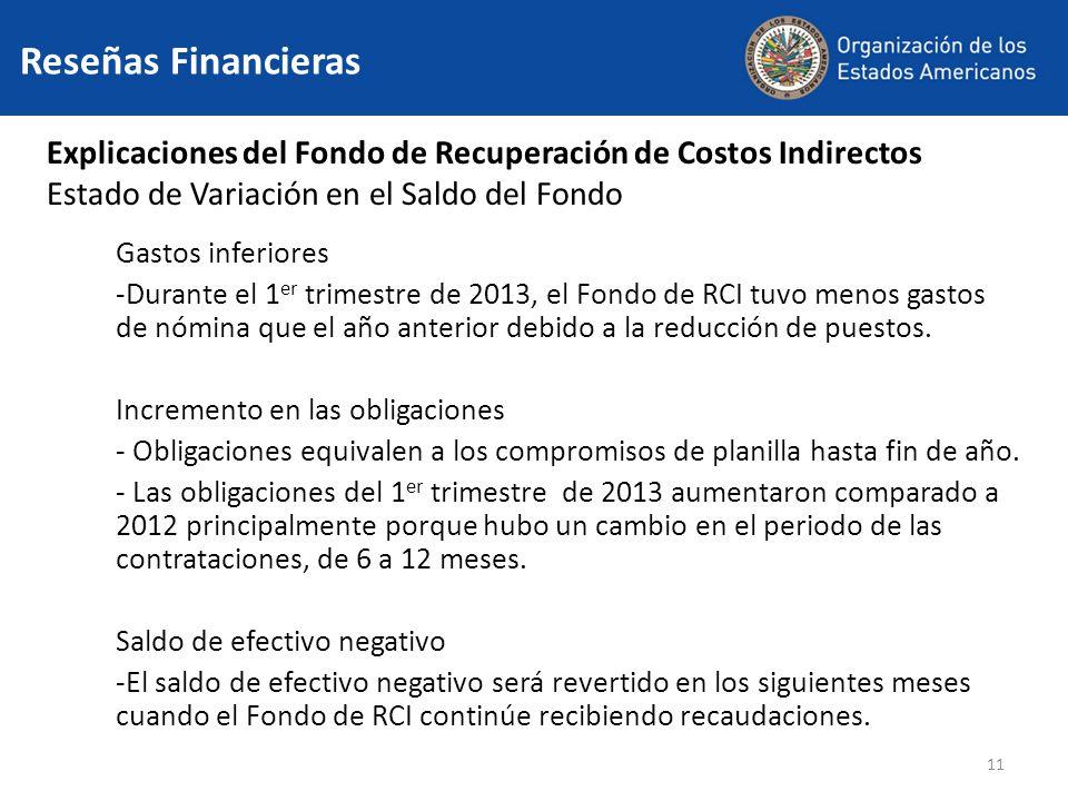 11 Explicaciones del Fondo de Recuperación de Costos Indirectos Estado de Variación en el Saldo del Fondo Gastos inferiores -Durante el 1 er trimestre de 2013, el Fondo de RCI tuvo menos gastos de nómina que el año anterior debido a la reducción de puestos.