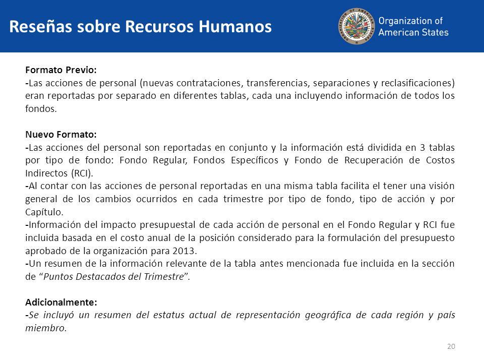 20 Reseñas sobre Recursos Humanos Formato Previo: - Las acciones de personal (nuevas contrataciones, transferencias, separaciones y reclasificaciones) eran reportadas por separado en diferentes tablas, cada una incluyendo información de todos los fondos.