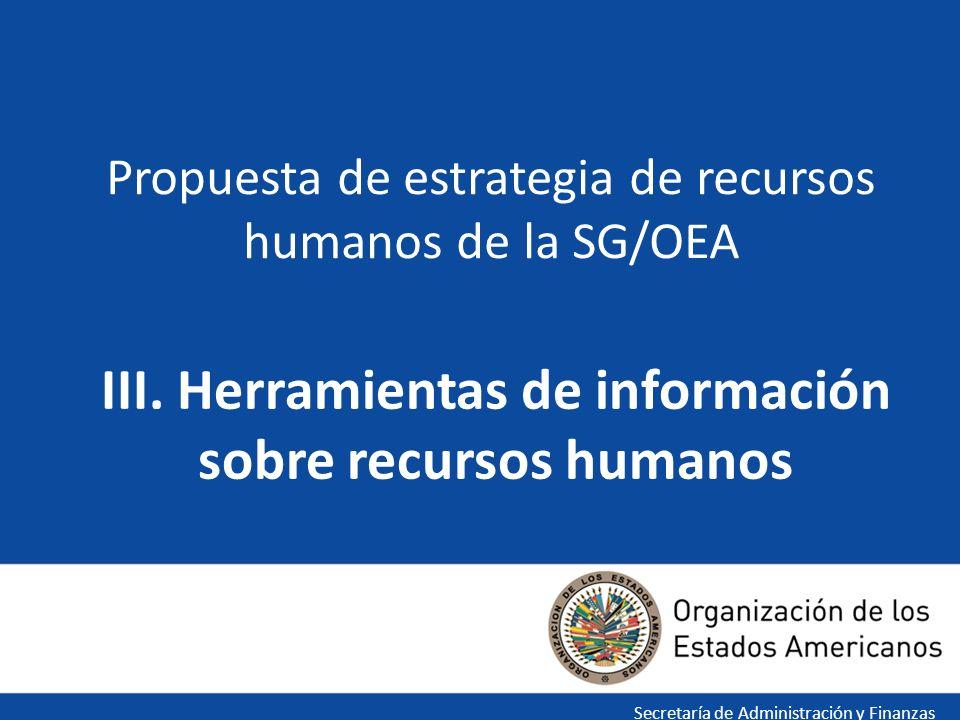 17 Secretaría de Administración y Finanzas Propuesta de estrategia de recursos humanos de la SG/OEA III. Herramientas de información sobre recursos hu