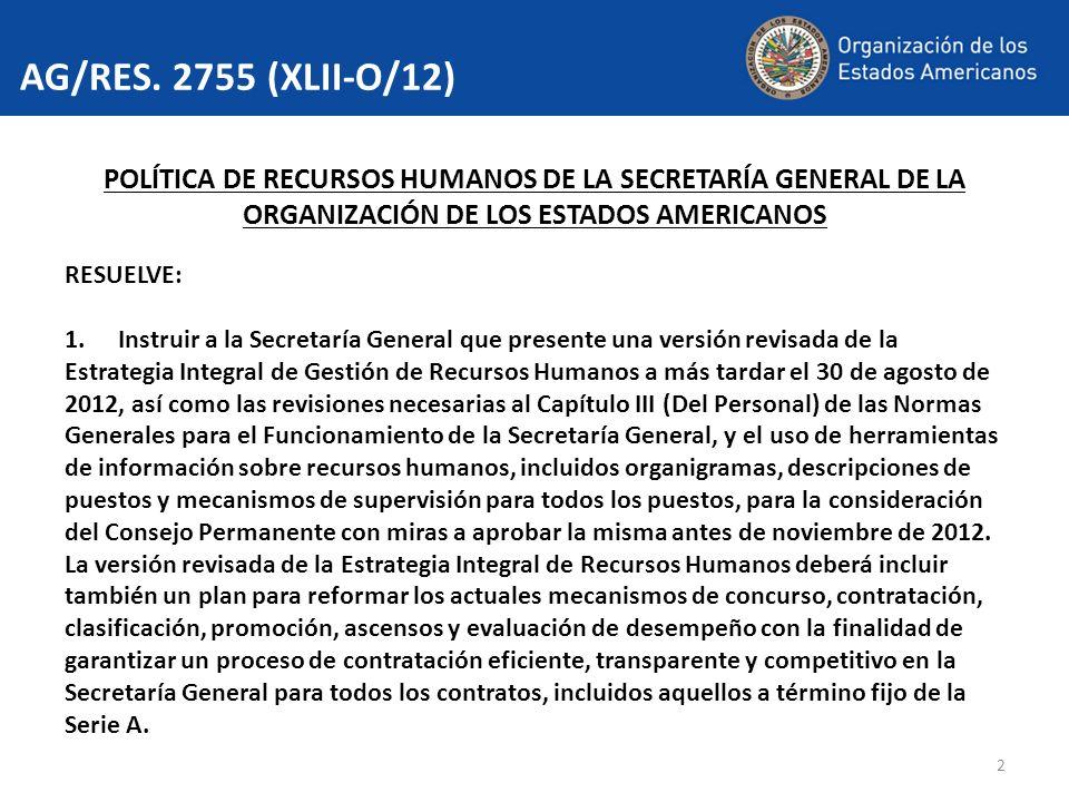 2 AG/RES. 2755 (XLII-O/12) POLÍTICA DE RECURSOS HUMANOS DE LA SECRETARÍA GENERAL DE LA ORGANIZACIÓN DE LOS ESTADOS AMERICANOS RESUELVE: 1.Instruir a l