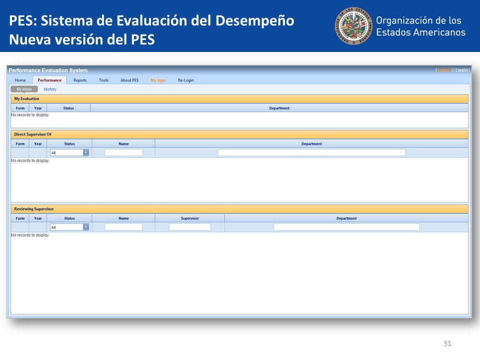 31 PES: Sistema de Evaluación del Desempeño Nueva versión del PES