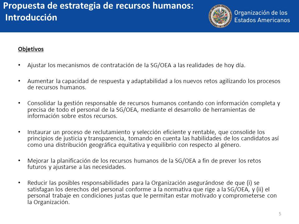 5 Propuesta de estrategia de recursos humanos: Introducción Objetivos Ajustar los mecanismos de contratación de la SG/OEA a las realidades de hoy día.