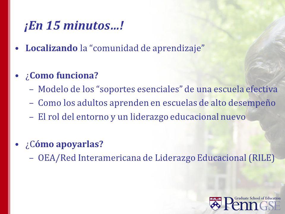 ¡En 15 minutos…! Localizando la comunidad de aprendizaje ¿Como funciona? –Modelo de los soportes esenciales de una escuela efectiva –Como los adultos