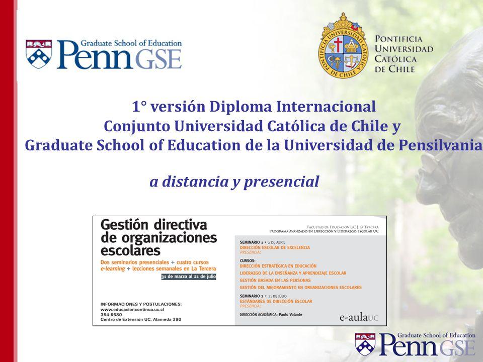 1° versión Diploma Internacional Conjunto Universidad Católica de Chile y Graduate School of Education de la Universidad de Pensilvania a distancia y